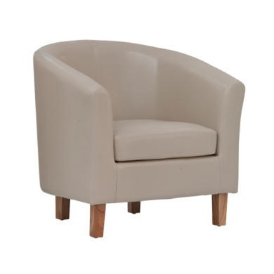 World Furniture Oxford Faux Leather Tub Chair in Ivory