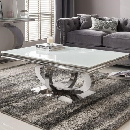 Vida Living Orion White Glass Coffee Table