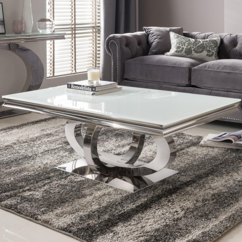 Vida Living Orion White Glass Coffee Table