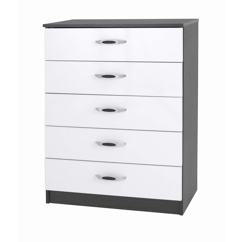 One Furniture Piano 5 Drawer Chest In Matt Black With White Gloss