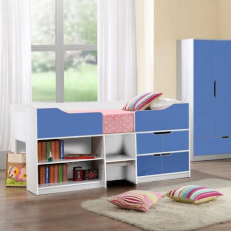 birlea furniture paddington cabin bed in white and blue