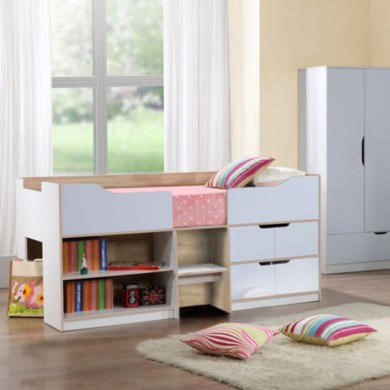 birlea furniture paddington cabin bed in white and oak