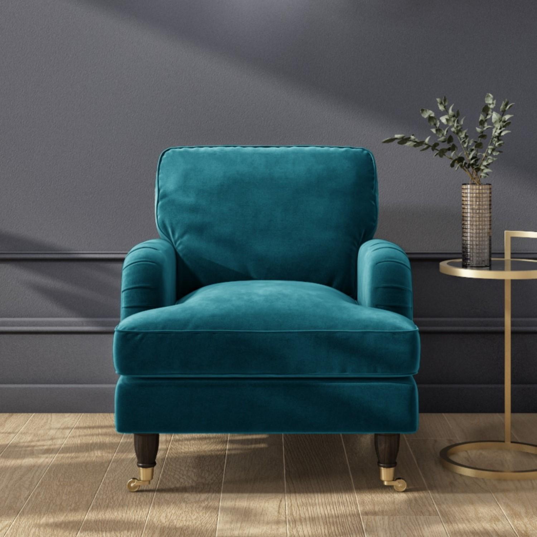 Teal Blue Velvet Armchair Payton Furniture123
