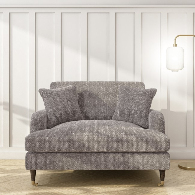 Grey Textured Fabric Loveseat - Payton