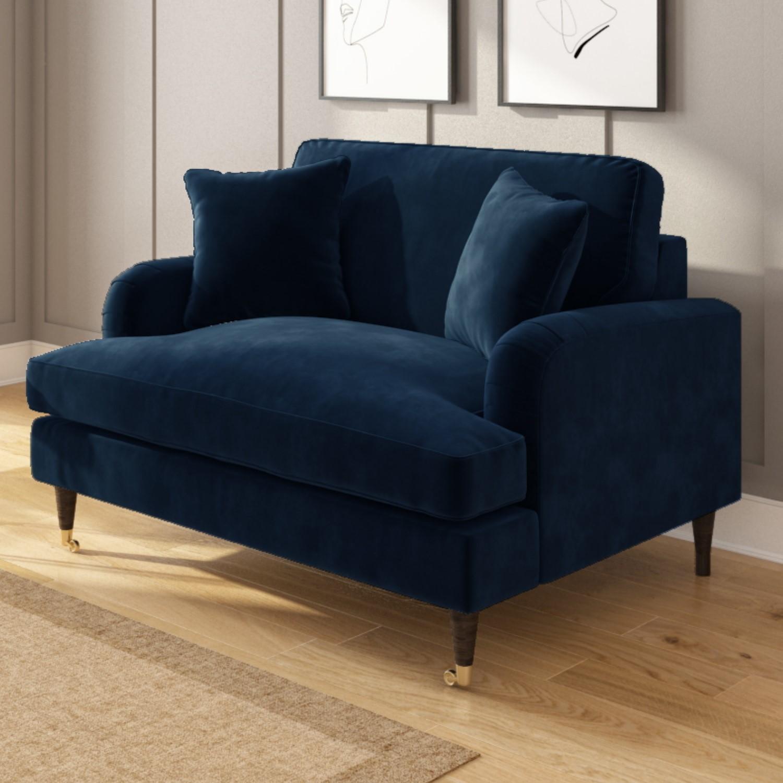 Picture of: Navy Blue Velvet Loveseat Payton Furniture123