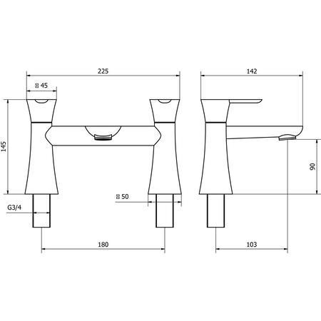 Albarno Bath Filler MIxer Tap