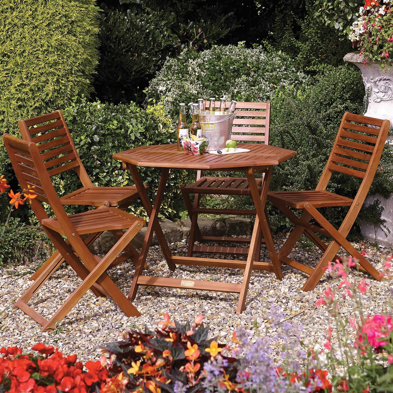 Rowlinson Wooden Garden Dining Set - Seats 4 - Plumley