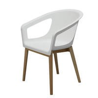 GRADE A1 - White Moulded Designer Chair With Wooden Legs in Beech