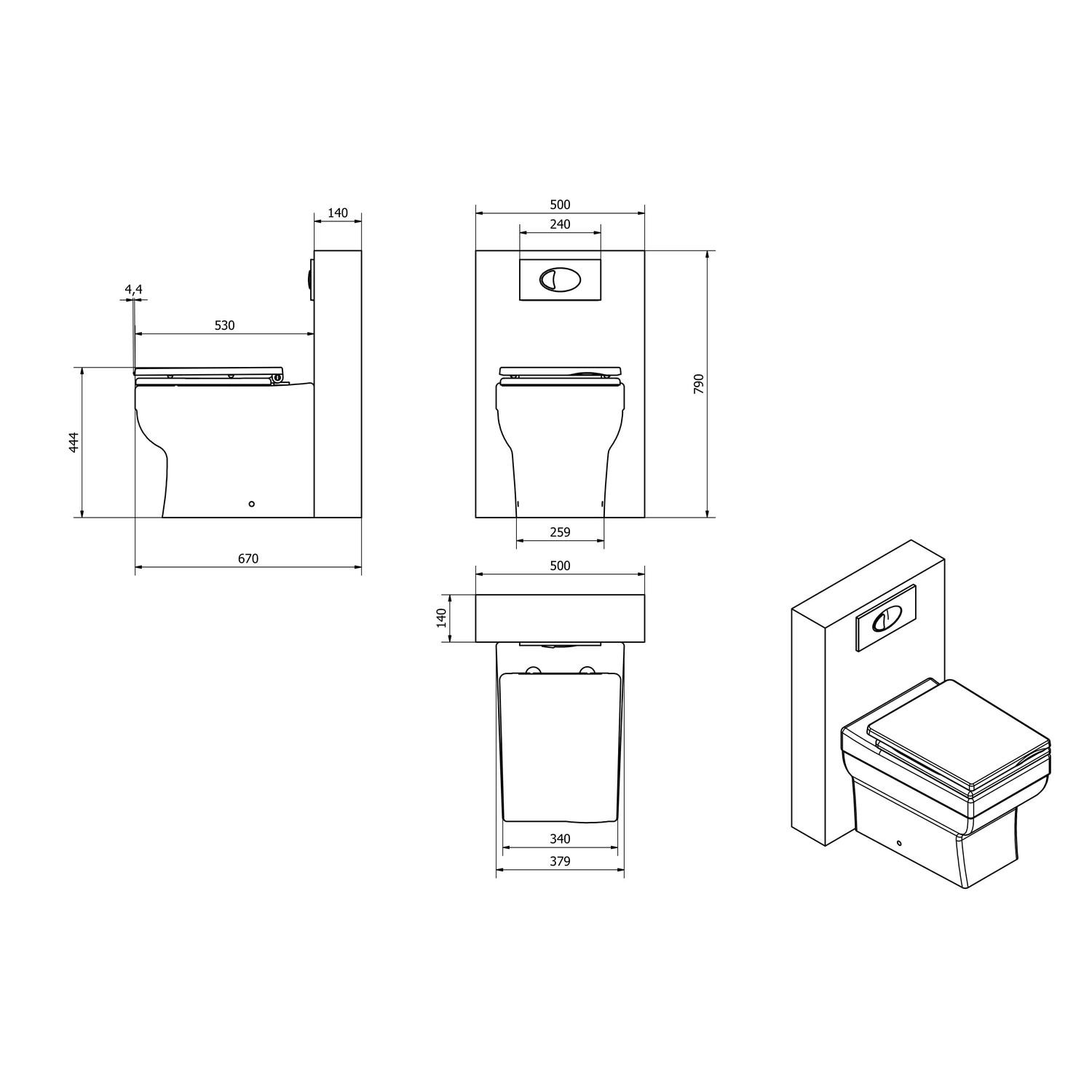 Back To Wall Wc Toilet Unit Square Toilet With Heavy Duty Seat