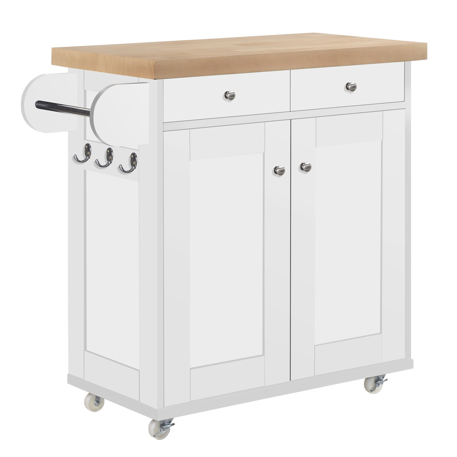 Portable Kitchen Island Trolly Cart With Oak Top In White Furniture123