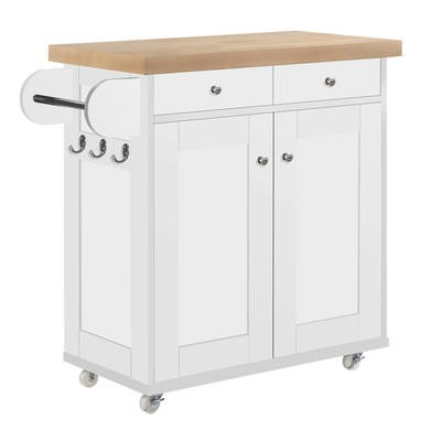 Portland Portable Kitchen Island Trolly Cart with Oak Top in White