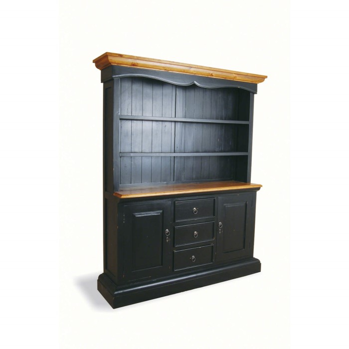 French Painted Wide Kitchen Cabinet Antique Black