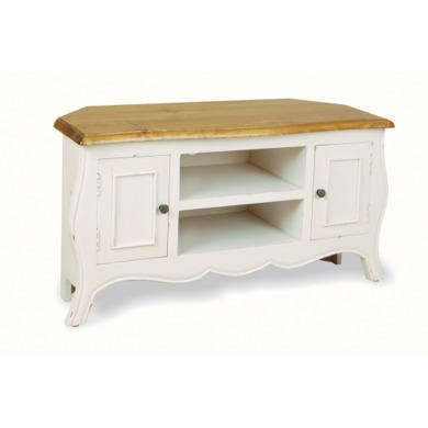 French Painted Monique Corner TV Unit in antique white