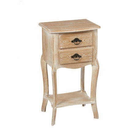 LPD Provence 2 Drawer side Table In Weathered Oak Finish