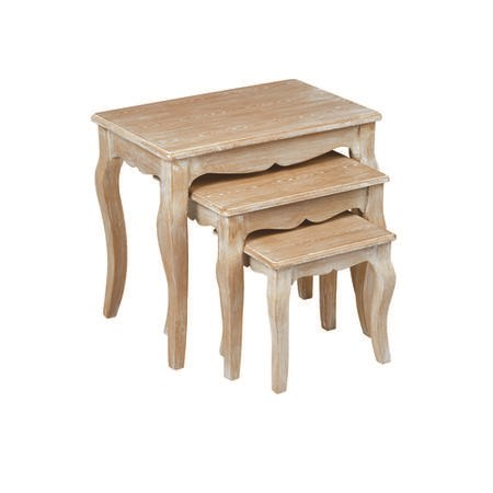 LPD Provence Nest of 3 Tables in Weathered Oak Finish