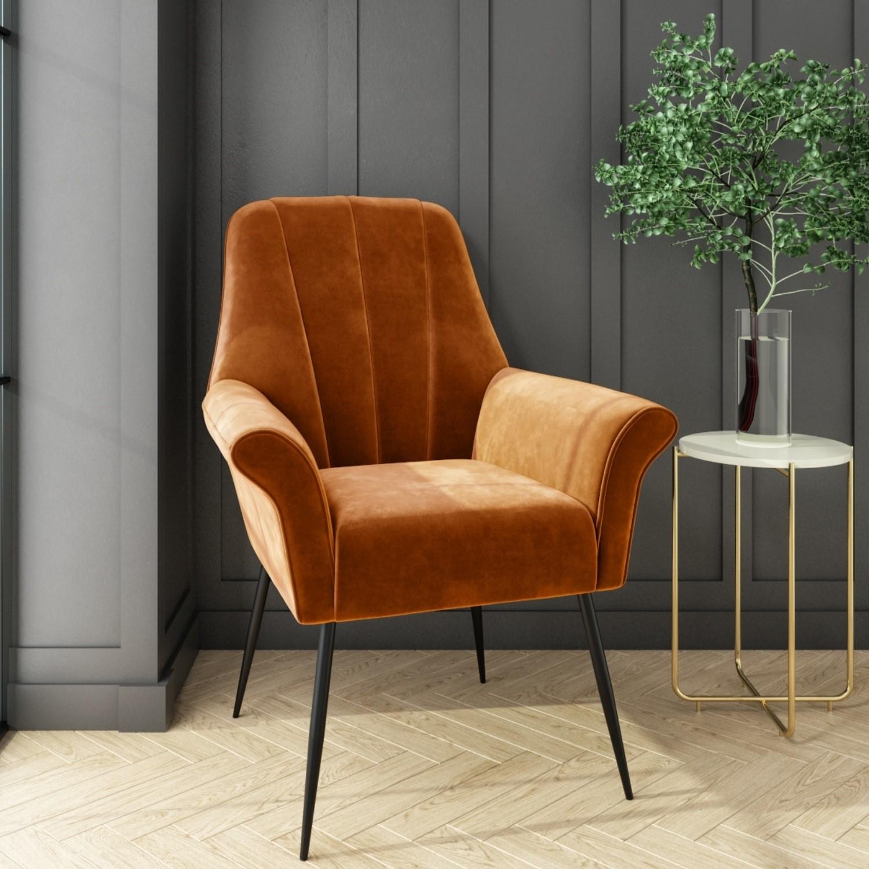 Grade A1 Burnt Orange Velvet Armchair With Black Legs Contemporary Paris Furniture123