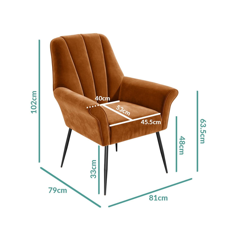 Burnt Orange Velvet Armchair With Black Legs Contemporary Paris Furniture123