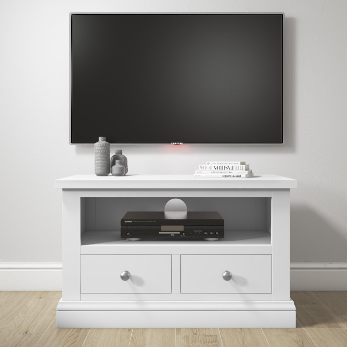 Pure White Solid Wood Tv Unit Stand With Storage Drawers Furniture123