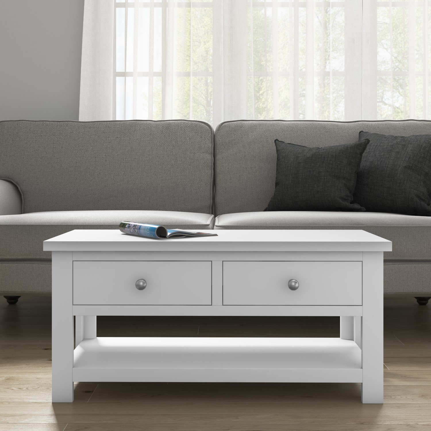 Grade A2 Pure White Soild Wood Coffee Table With Storage Furniture123