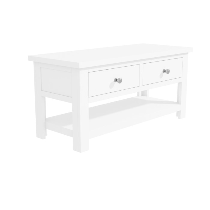 Grade A2 Pure White Soild Wood Coffee Table With Storage