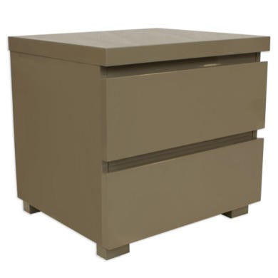 LPD Puro High Gloss Bedside Table in Stone