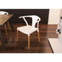 White Flat Wishbone Chair With Wooden Legs in Beech
