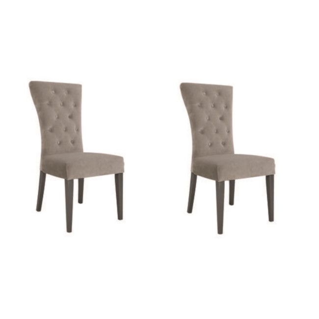 Pembroke Pair of Taupe Velvet Dining Chairs with Solid Wood Legs