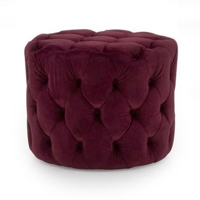 Perkins Round Tufted Pouf/Footstool in Velvet Crimson Red