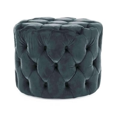 Round Tufted Velvet Dressing Table Pouf in Midnight Blue
