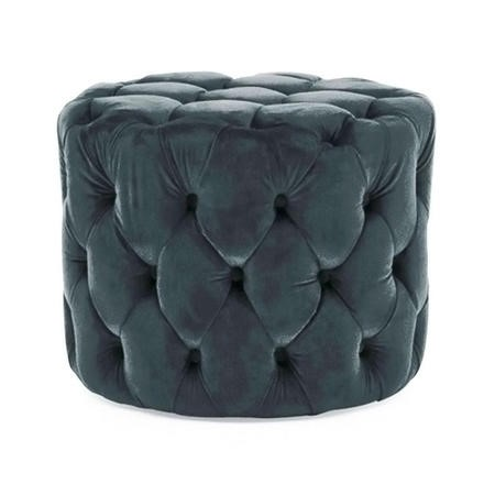 Round Tufted Velvet Dressing Table Pouf in Midnight Blue