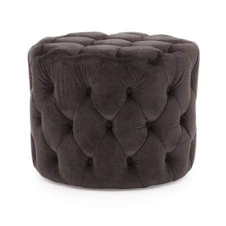 Round Tufted Velvet Dressing Table Pouf In Misty Grey