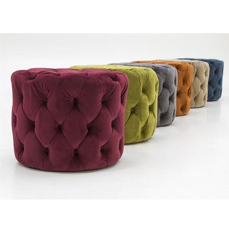 Perkins Round Tufted Pouf/Footstool in Velvet Moss Green