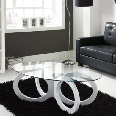 Tiffany White High Gloss Looped Base Coffee Table