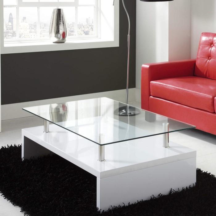Tiffany White High Gloss Rectangular Glass Top Coffee Table Furniture123