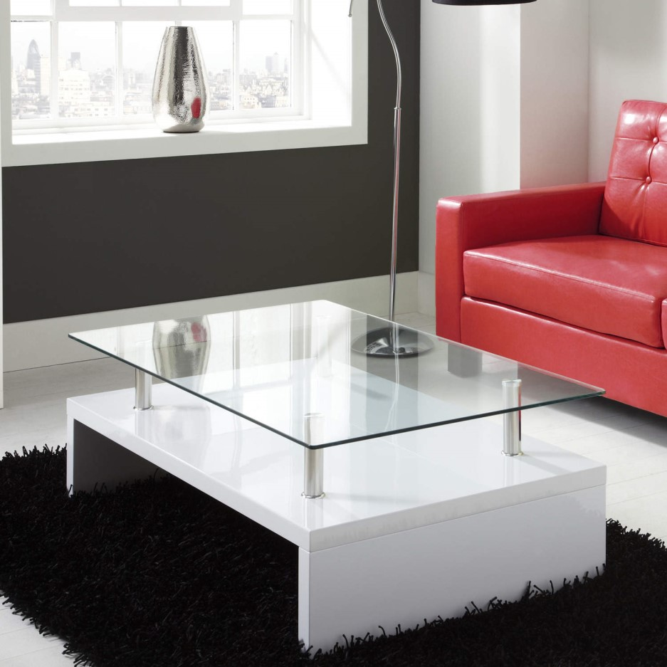 Tiffany white high gloss rectangular glass top coffee - How high should a coffee table be ...
