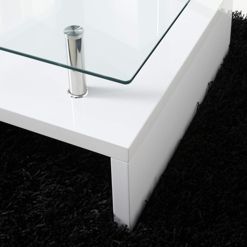 Tiffany white high gloss rectangular glass top coffee - How high is a coffee table ...