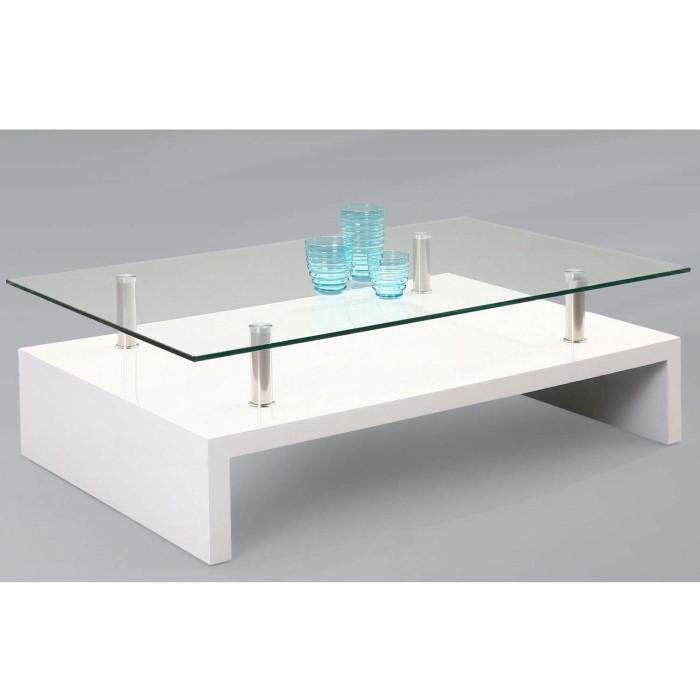 High Gloss White Coffee Table Amazon Co Uk Kitchen Home: Tiffany White High Gloss Rectangular Glass Top Coffee