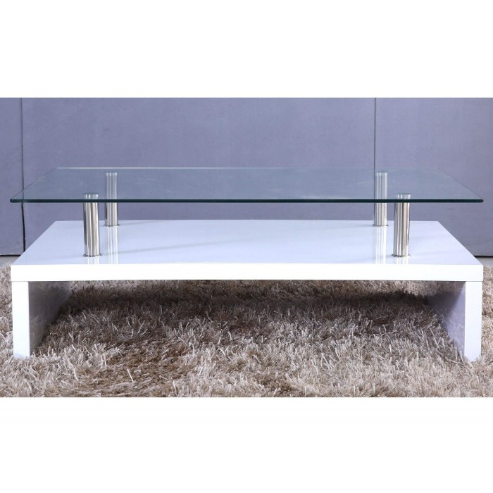 Tiffany White High Gloss Cubic Led Coffee Table Furniture: Tiffany White High Gloss Rectangular Glass Top Coffee