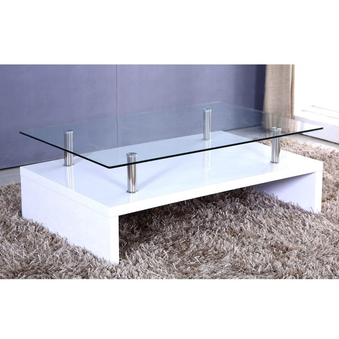 Tiffany White High Gloss Rectangular Glass Top Coffee Table Furniture123