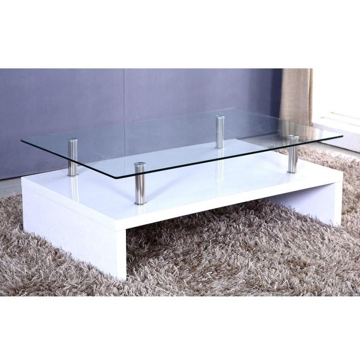 Tiffany White High Gloss Square Storage Coffee Table: Tiffany White High Gloss Rectangular Glass Top Coffee