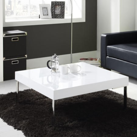 Square Gloss Coffee Table In White Tiffany