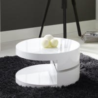 Tiffany High Gloss White Round Rotating Top Coffee Table