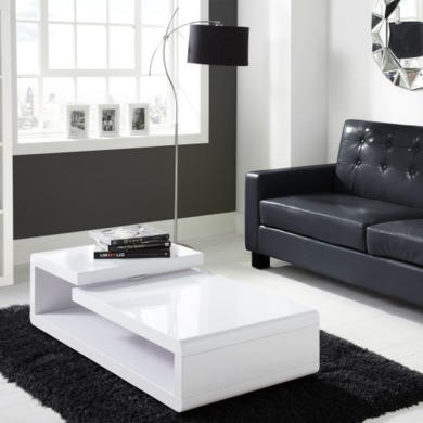 Tiffany White High Gloss Double Level Coffee Table