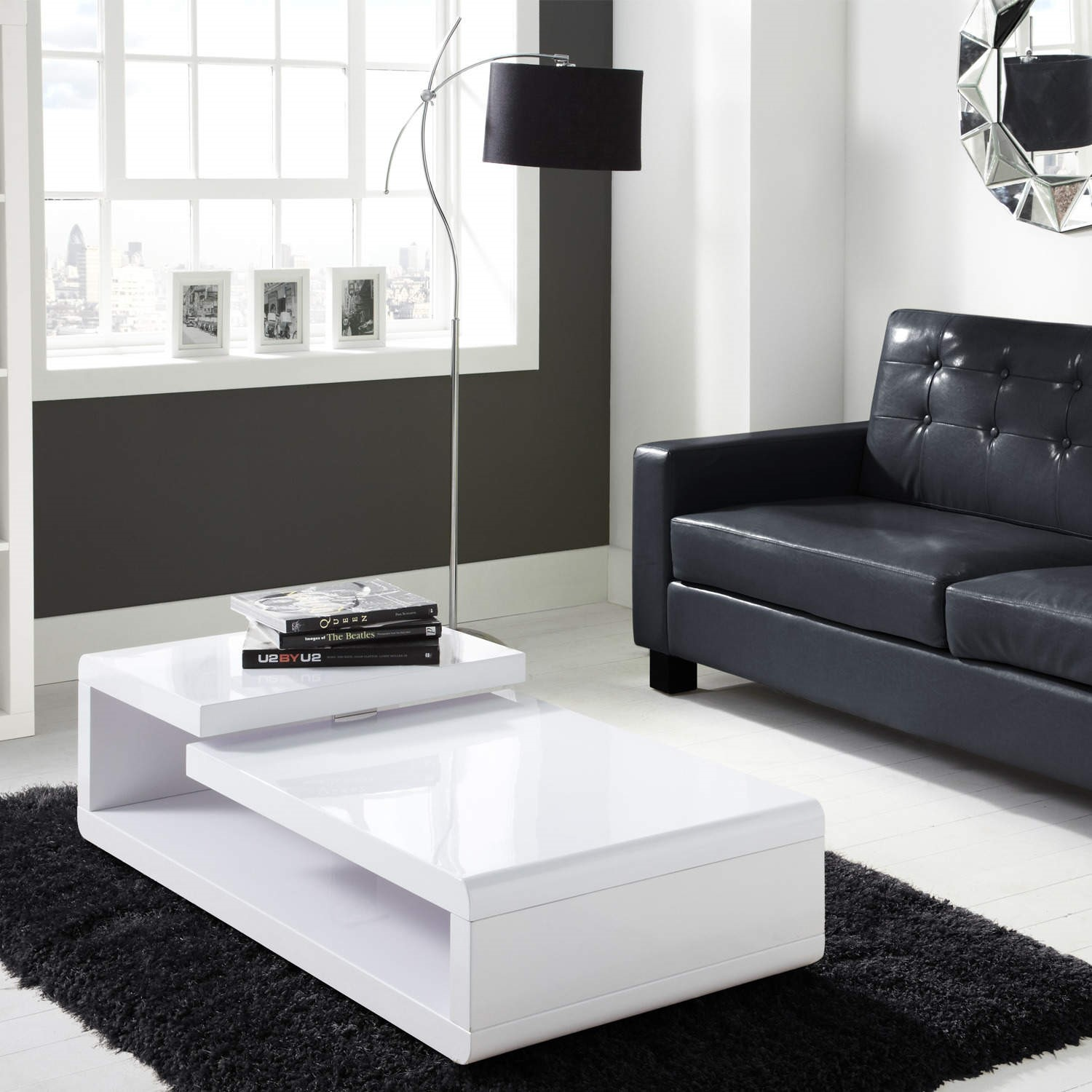 Tiffany White High Gloss Double Level Coffee Table Furniture123