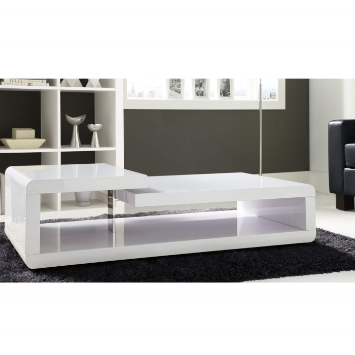 Rectangle High Gloss White Coffee Table With Led Lighting: High Gloss White High Gloss Coffee Table