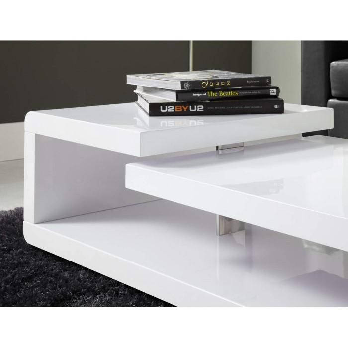 Tiffany White High Gloss Square Storage Coffee Table: High Gloss White High Gloss Coffee Table
