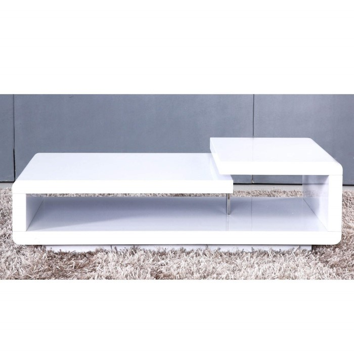 Tiffany White High Gloss Cubic Led Coffee Table Furniture: Light Cosmetic Damage