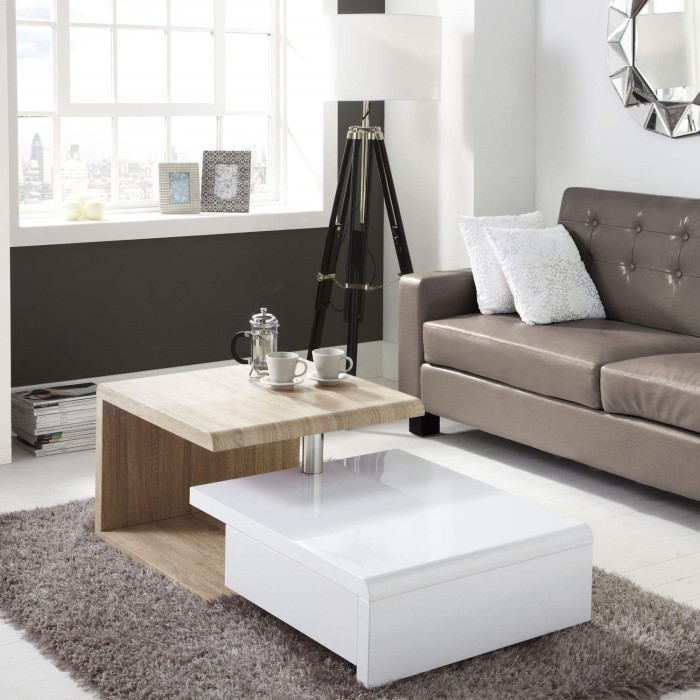 Tiffany White High Gloss Square Storage Coffee Table: Tiffany White High Gloss Two Tone Swivel Base Coffee Table