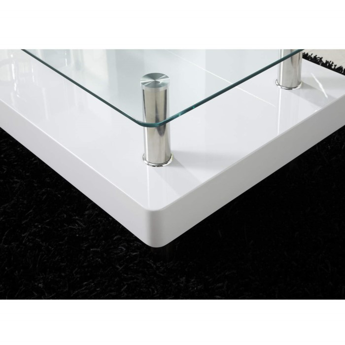 Tiffany White High Gloss Square Coffee Table Furniture: Tiffany White High Gloss Two Tier Glass Top Coffee Table