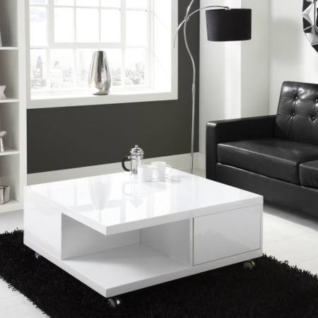 High Gloss White Storage Coffee Table - Tiffany Range